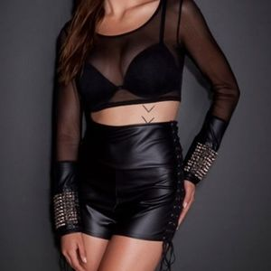 See you Monday Studded Cuff Mesh Crop Top Black L